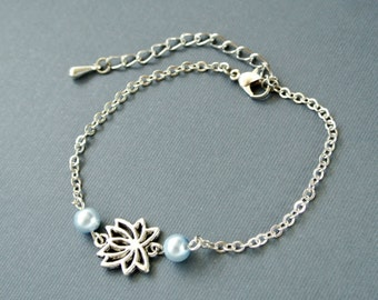 Lotus Bracelet, Yoga Bracelet, Lotus Flower Bracelet, Flower Jewelry,Pearl Bracelet, Peral Bracelet
