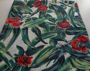 Vintage 1940's Green, Grey, Black, Red Poppies Floral Fabric, 2 yards