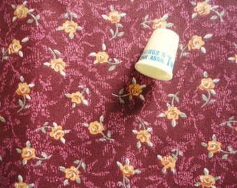 tan and brown floral vintage cotton blend fabric -- 46 wide by 1 1/4 yards