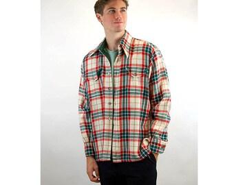 1970s mens shirt plaid red green tweed acrylic winter shirt work shirt Size L