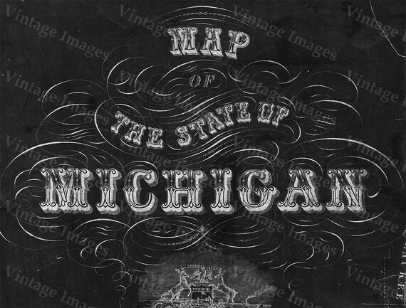 Old Michigan map, vintage 1856 map of Michigan, Old Antique Restoration Decorator Style wall Map, Lake Michigan map. Chalk Style map print