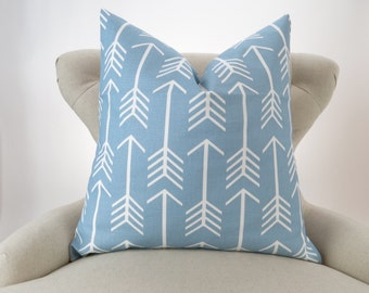 Blue Arrow Pillow Cover -MANY SIZES- Throw Pillow, Euro Sham, Cushion Cover, Light Blue White Decor, Arrow Cashmere Blue by Premier Prints