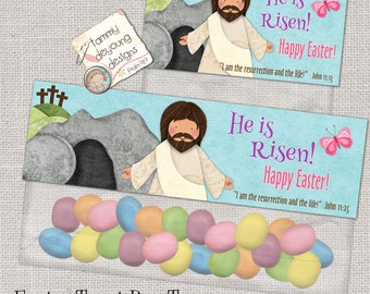 Christian Easter Treat Bag Toppers Printable, He Is Risen Jesus Easter Basket tag, Religious party favor for Sunday School, Instant Download