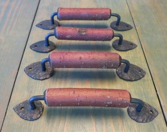 one of a kind furniture pulls - red twig dogwood cabinet hardware - set of 4