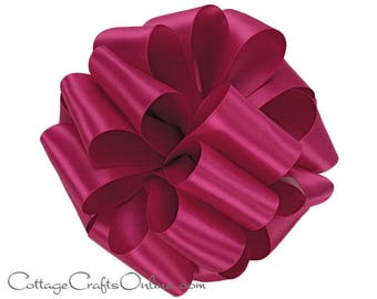 "Satin Ribbon, 1 1/2"" wide, Berry Pink Double Face - TEN YARD ROLL - Offray ""Azalea #187"" Reversible Double Sided Satin, Wedding, Sewing Trim"