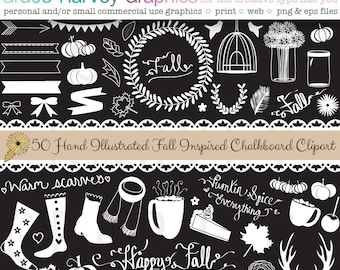 Chalkboard Fall Illustrations, Clipart, Chalkboard Clip Art EPS PNG Small Commercial Use