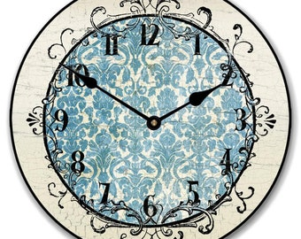 Blue Damask Wall Clock