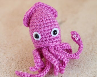 Crochet 'Squidoo the Squid' Amigurumi Keychain Charm