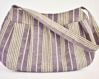 Pleated Fabric Purse, Small - Purple & Cream Stripes - Buttercup bag, cotton, handbag, purple, cream, beige, stripes