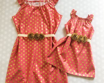 Raspberry and Gold Matching Dresses - Mothers Day Gift - Mommy and Me Outfits - Mother Daughter Dresses - Baby Shower Gift - Raspberry