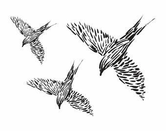 Temporary TATTOO Black birds, 70x55 mm size