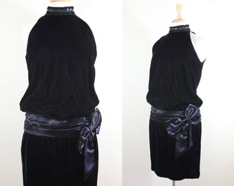 Vintage Gunne Sax Black Velvet & Satin Drop Waist Dress