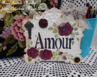 Amour Metal Wall Hanging Sign, Hand Painted Red Roses Plaque, Dream Key, Button Accents, Cottage Style Decor, French Country,ECS