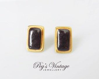 Vintage Gold Tone Purple Enamel Earrings / Small Rectangular Stud Earrings
