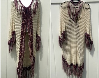 Tribal Open Poncho With Sleeves PDF DIY Pattern Fringed Native American Crochet Is not a Finished Product