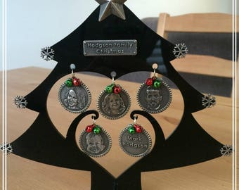 Personalised Family Christmas Tree with Photograph Coins