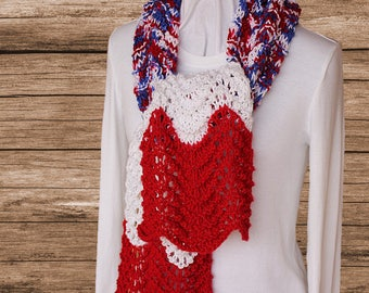 Red White and Blue Scarf, Patriotic Knit Scarf, Scarf Knit with Ripple Pattern, Soft Knitted Scarf, USA Colors Scarf, Gift Idea