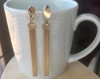 Long Gold Tassel Earrings