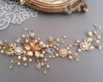 Leaf pearl headpiece Flower bridal hair vine Black Friday sale Gold pearl hair vine Wedding Hair Vine Crystal Pearl Headpiece Wedding  comb