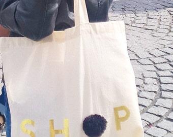 SHOP tote bag - Natural Cotton Tote Bag - Market bag - SHOP tote - Black bag
