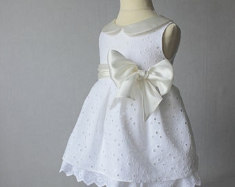 Baptism Baby Dress, Christening Gown, French Ivory Silk and White Lace Dress, Flower Girl, Eyelet Girl dress, Christening Dress