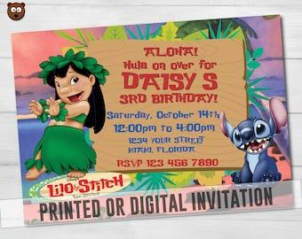 Lilo and Stitch Printed Invitation, Lilo and Stitch Invitation, Lilo and Stitch Birthday, Lilo and Stitch PrintableHBS 15