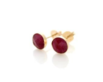 Ruby stud earrings   Ruby set in gold stud earrings   Red earrings   Gift for her   July birthstone