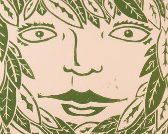 The Green Woman block print