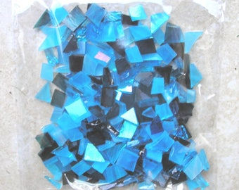blue stained glass tiles for mosaic crafts, glass pieces, random shapes, 100g, craft supplies, glass crafts, UK supplier, arts and crafts