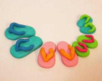 4 Pairs Miniature Flip Flops, Family Set of Flip Flops, Fairy Garden Miniatures, Dollhouse,  Beach Wear, Miniature Gardens