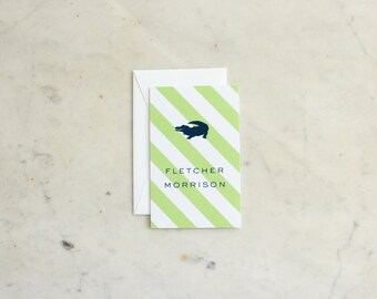 children's calling cards / gift enclosures - alligator / crocodile (green and navy, boy or brothers)