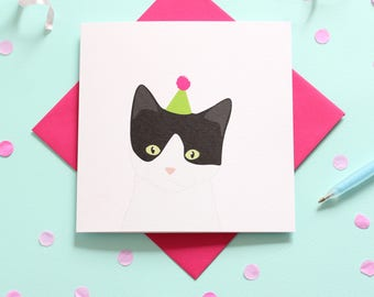 Birthday black and white cat card
