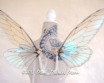 Vintage 'Plain' Iridescent Fairy Wings, small size wearable fairy wings, poseable fairy costume wings