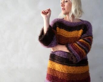 Womens Sweater - Han Knitte Sweater - Stripe Sweater - Chunky Sweater - Acrylic Vegan Sweater - Gift for Her - Womens Gift - Long Sweater