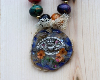 Vintage bead and hand-painted Claddagh charm  necklace!