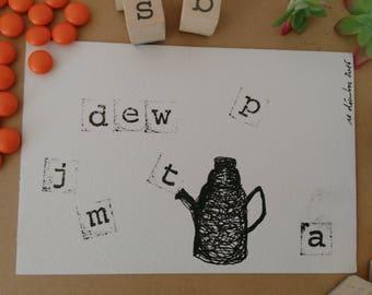 Teapot Drawing: Black & White Dew version