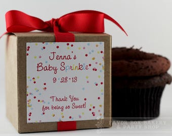 CONFETTI SPRINKLE...One Dozen (12) Personalized Cupcake Mix Baby Shower Favors