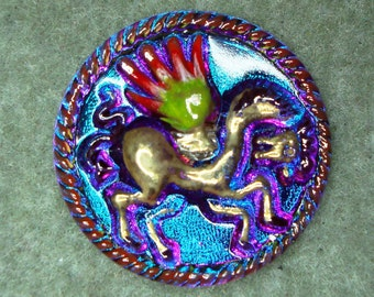 Czech Glass Button 36mm - hand painted - winged horse/Pegasus, blue/purple vitrail (B36061)