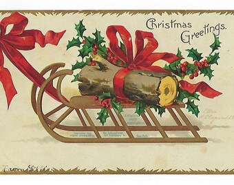Ellen Clapsaddle Yule Log Postcard, Antique Postcard, Christmas Greetings, Undivided Back, Ephemera, Printed in Germany