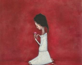 """Girls red nursery art. children's room art. little girl portrait art """"Loves me, loves me not"""""""