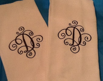 Embroidered Initial  kitchen towel Set