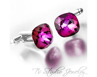 Cufflinks - Cushion Cut Raspberry Rose Pink Cuff Links - Available in your choice of colors