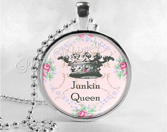 JUNKIN QUEEN Necklace, Thrift Shopping, Thrifting, Antiques, Junking, Queen Crown, Flea Market, Glass Photo Art Necklace, Shabby Roses