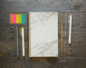 Medium Monthly Planner (120-Pages) | 24 Months | No Weekly Pages | Marble Planner