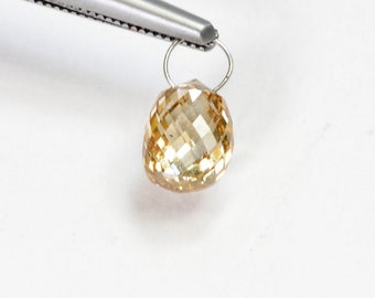 1.28CT 18K Solid White Gold Faceted Champagne Diamond Teardrop Briolette Charm