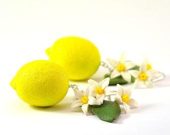 Big Lemon Earrings - Polymer clay jewelry  - Handmade lemon jewelry - Yellow citrus jewellery - Fruit earrings