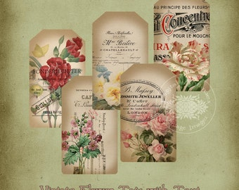 Vintage Flower Tags with Text Instant Digital Download