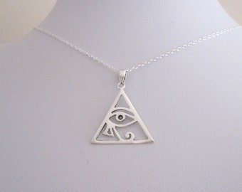 Cutout Egyptian EYE of HORUS/ RA triangle sterling silver pendant and necklace chain