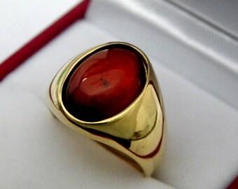 AAAA Hessonite Garnet  14x10mm  7.55 Carats   14K Yellow gold 10 grams  2115