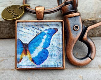 Blue Butterfly Pendant Key Chain, Inspirational Gift, Religious Gift,  Spiritual Gift, Antique Copper, Butterfly Jewelry, Love Charm
